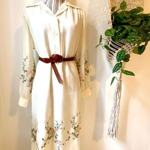 Vintage Union made embroidered cream floral dress